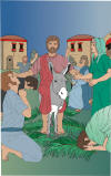 Color Graphic: Jesus enters Jerusalem on a donkey on Palm Sunday
