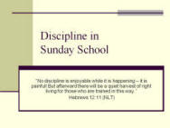sunday school discipline