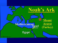 Map showing Mr. Ararat, where Noah's Ark landed.