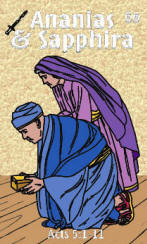 Ananias & Sapphira Bible trading card front