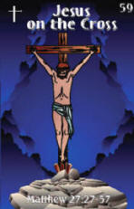 Front of Bible trading card on the crucifixion.