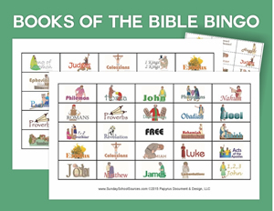 Learning the Books of the Bible: Flashcards, Bingo, songs